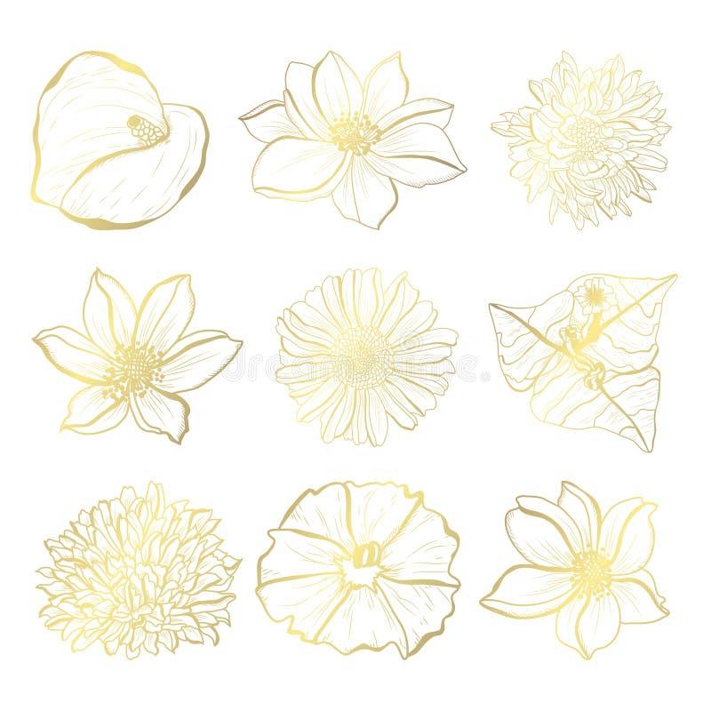 floral χρυσός διακοσμήσεων ελεύθερη απεικόνιση δικαιώματος