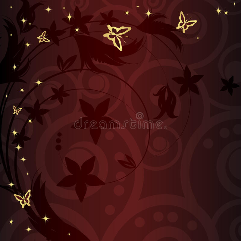 floral χρυσός μαγικός ανασκόπη&si απεικόνιση αποθεμάτων