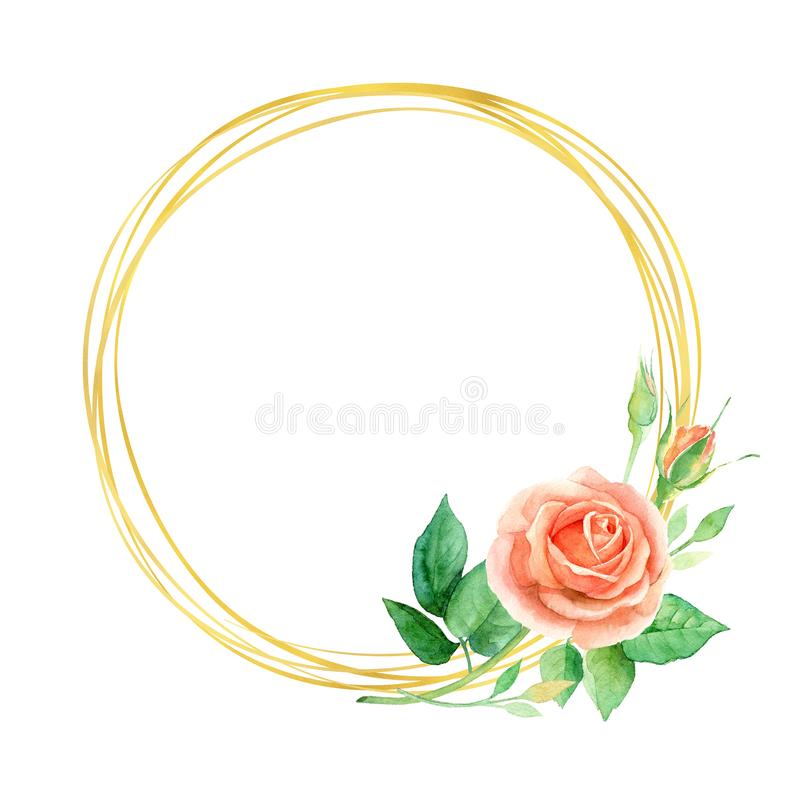 Floral χρυσό στρογγυλό πλαίσιο Watercolor με τα τριαντάφυλλα, φύλλα που απομονώνονται στο άσπρο υπόβαθρο Floral ευχετήρια κάρτα ή διανυσματική απεικόνιση