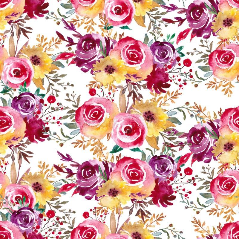 Floral ψηφιακό έγγραφο, άνευ ραφής σχέδιο με τη βοτανική τέχνη για το κλωστοϋφαντουργικό προϊόν, ύφασμα, υπόβαθρο Γάμος, ντεκόρ γ διανυσματική απεικόνιση