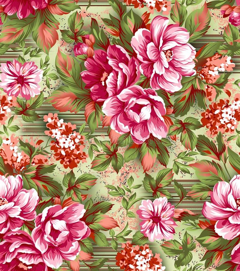 Floral όμορφο λουλούδι με το ψηφιακό υπόβαθρο διανυσματική απεικόνιση