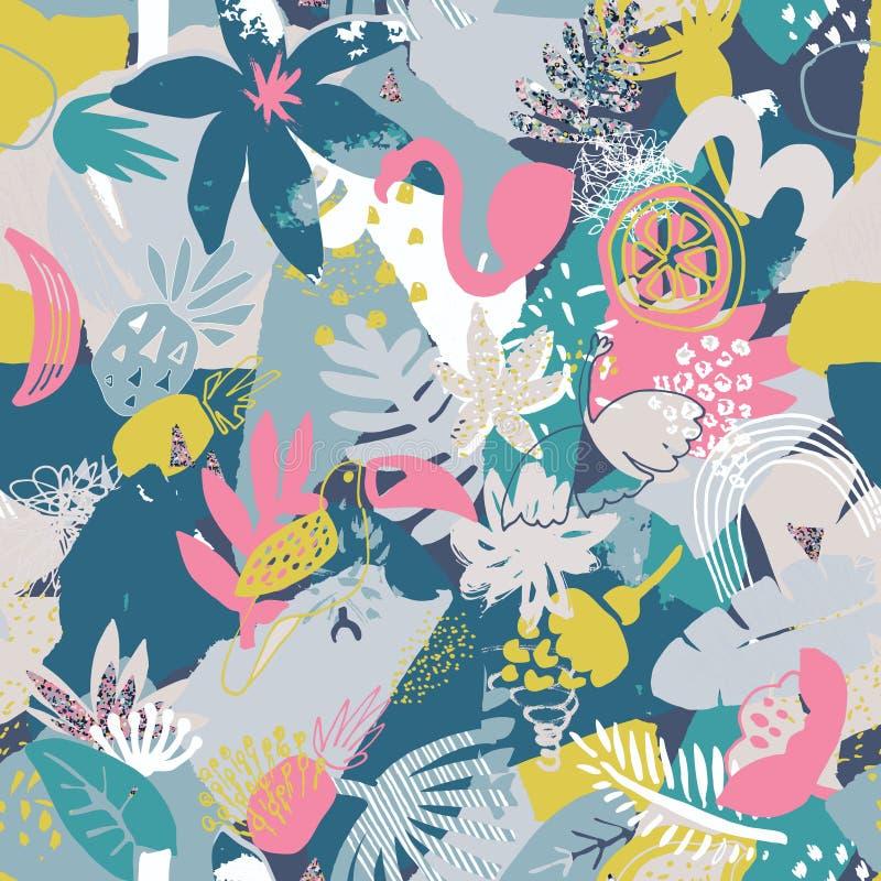 Διανυσματικό ζωηρόχρωμο άνευ ραφής σχέδιο με τις τροπικές εγκαταστάσεις, λουλούδια πουλιά, χρωματισμένη χέρι σύσταση διανυσματική απεικόνιση