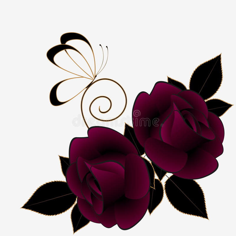 Floral abstract background with burgundy roses and butterfly. vector illustration