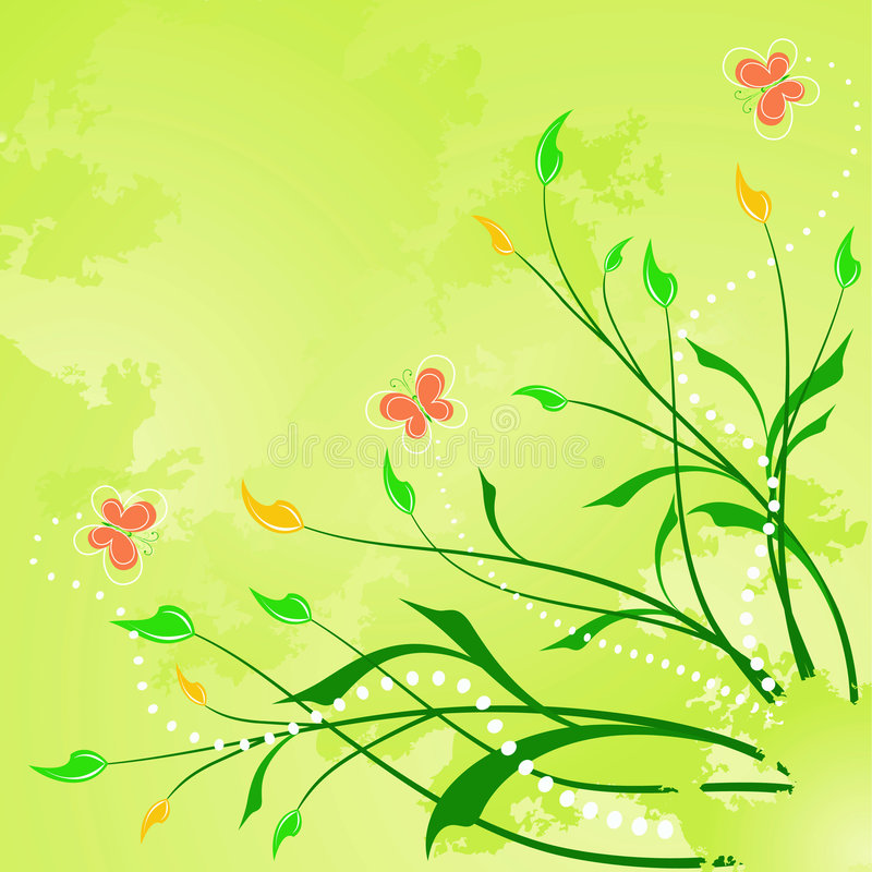 Floral Abstract Background With  Butterfly Royalty Free Stock Photo