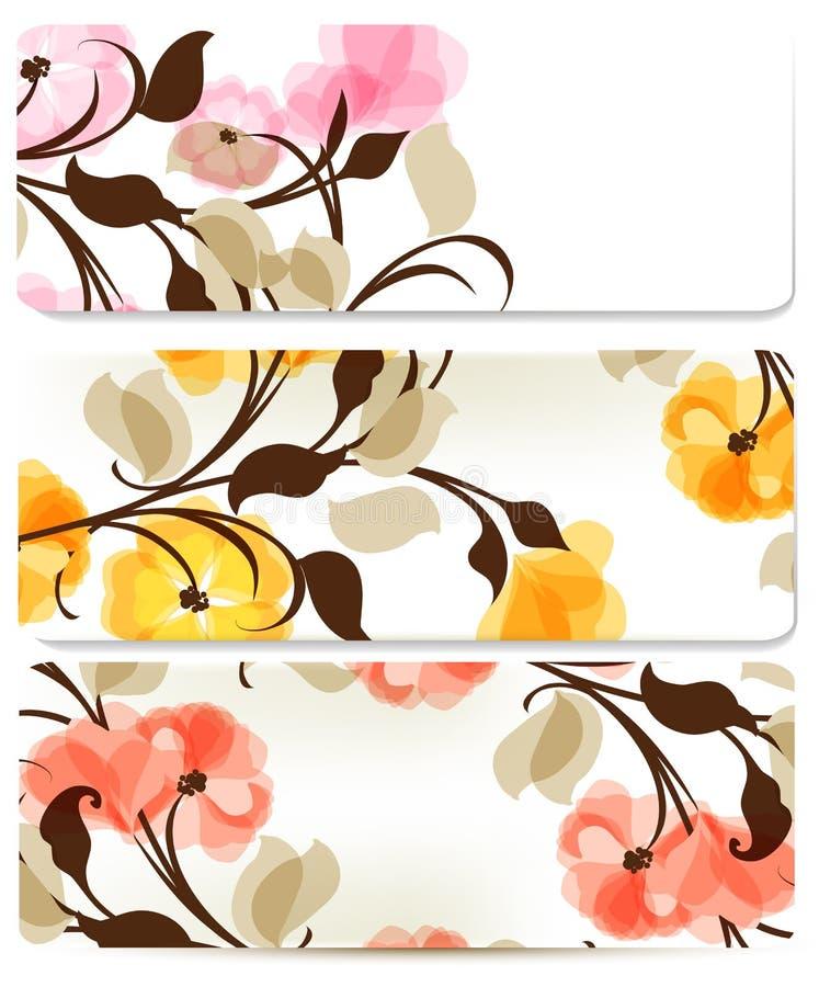 Floral abstract backgrounds set for design stock illustration