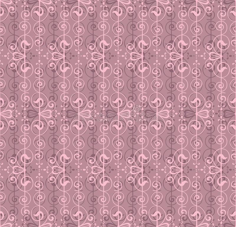 Floral abstract lacy seamless pattern. Seamless pattern with lightning ornament on pink background royalty free illustration