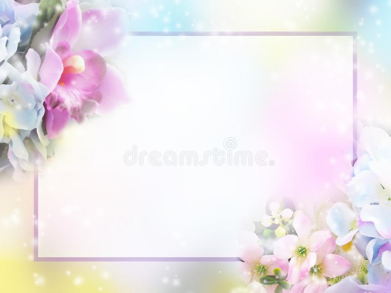 Floral abstract pastel background with copy space. stock image
