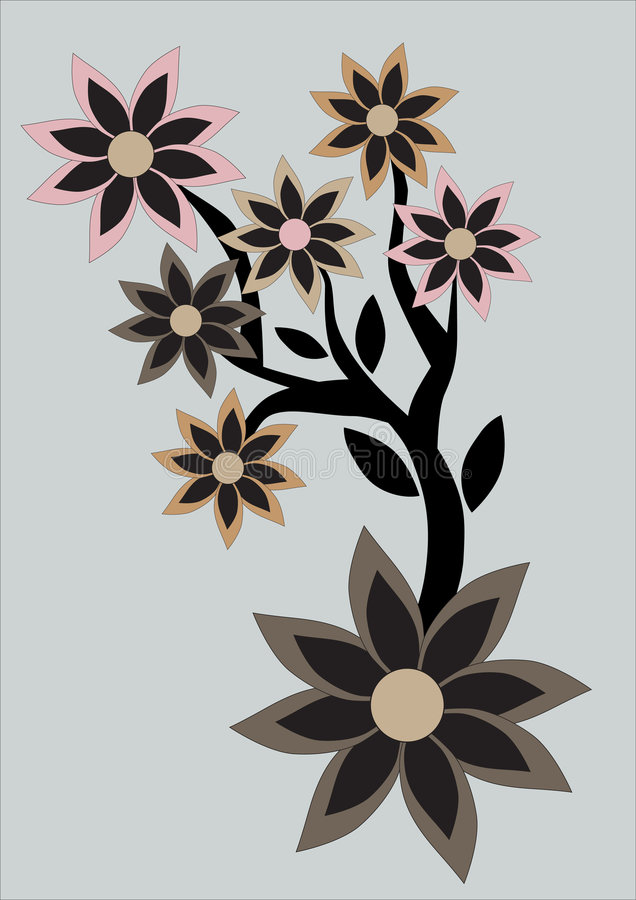 Floral abstract retro background stock illustration