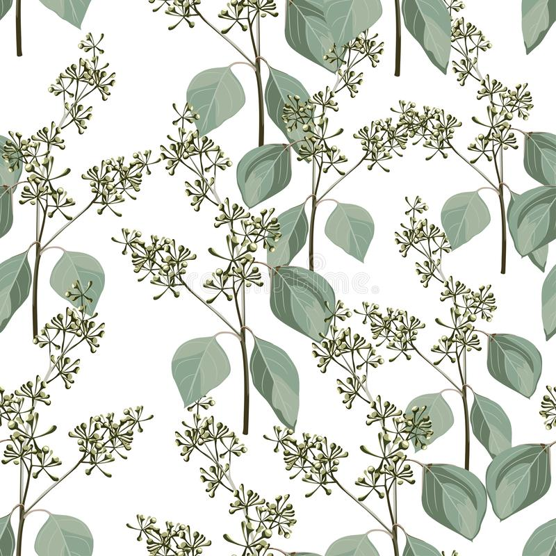 Floral abstract seamless pattern with herbs branch royalty free illustration