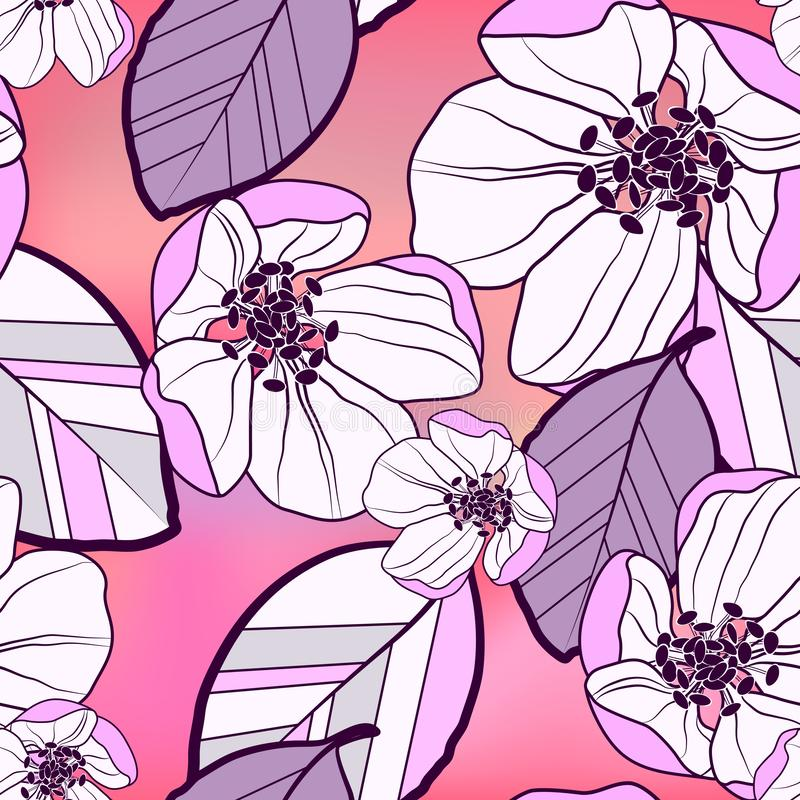Floral abstract seamless pattern of large purple-white with black apple flowers and colorful leaves, on a bright gradient pink- vector illustration