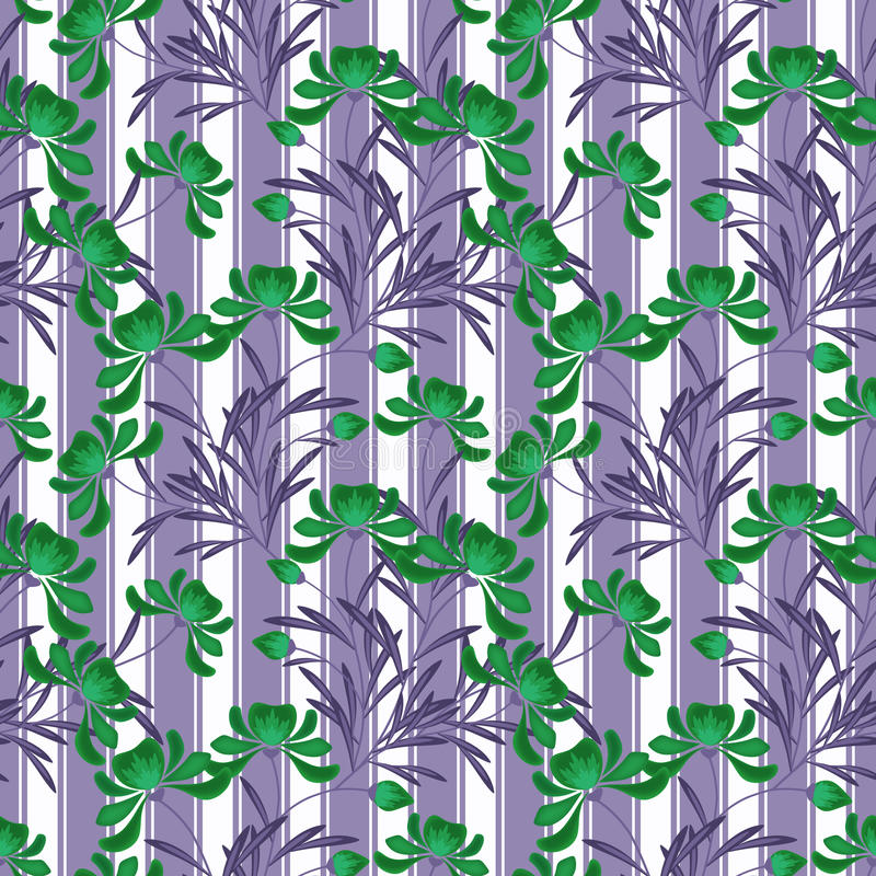 Floral abstract seamless pattern,white background striped royalty free illustration