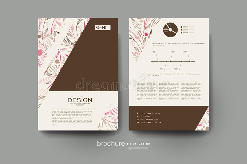 Floral abstract vector brochure template. Flyer Layout royalty free illustration