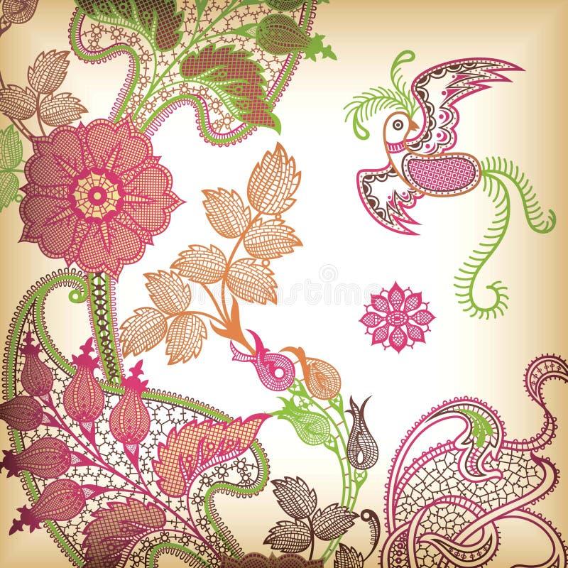 Floral abstracto y pájaro stock de ilustración