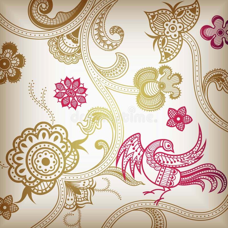 Floral abstracto y pájaro libre illustration