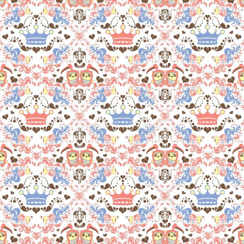Floral abstracto y panda stock de ilustración