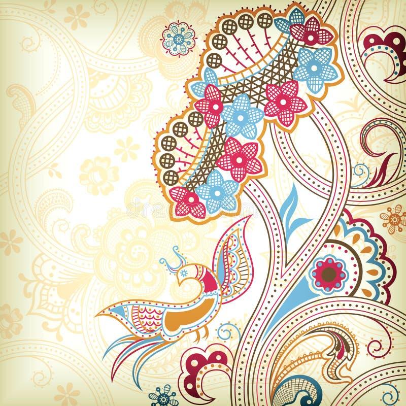 Floral abstracto y quetzal libre illustration