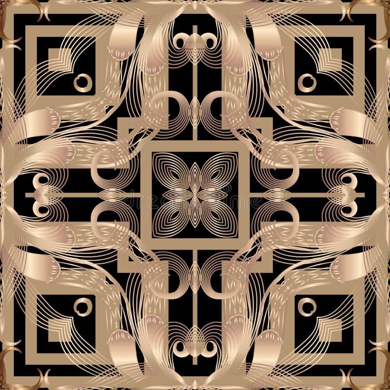 Floral abstrat arabesque vector seamless pattern. Geometric ornamental background. Repeat modern decorative backdrop. Arabic style vintage flowers, swirls royalty free illustration