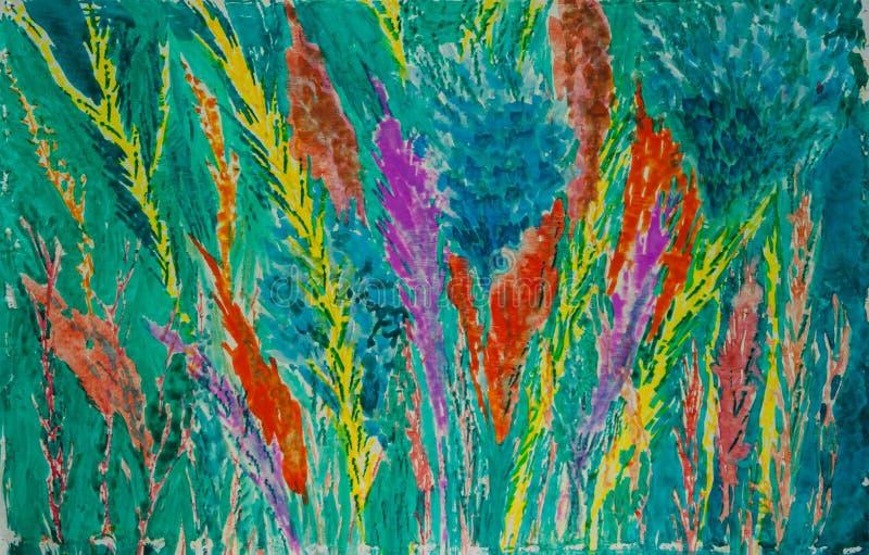Floral abstrato - pintura original da aquarela das flores ilustração royalty free