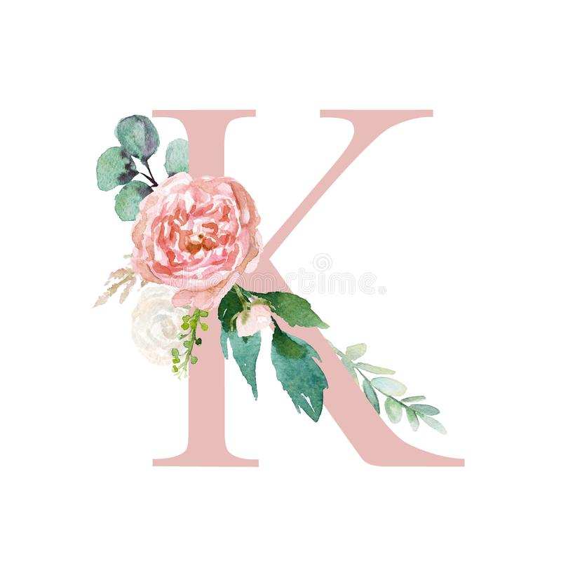 Floral Alphabet - blush / peach color letter K with flowers bouquet composition. Unique collection for wedding invites decoration and many other concept ideas vector illustration