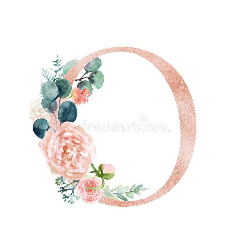Floral Alphabet - blush / peach color letter O with flowers bouquet composition. Unique collection for wedding invites decoration and many other concept ideas royalty free illustration