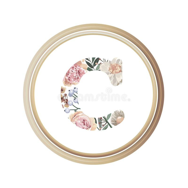Floral alphabet C of romance greeting card and flower and leaf vector with circle wooden flame.  stock illustration