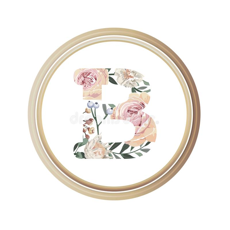 Floral alphabet B of romance greeting card and flower and leaf vector with circle wooden flame.  stock illustration