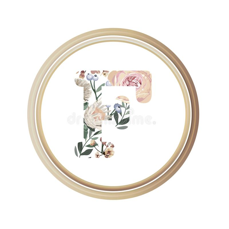 Floral alphabet F of romance greeting card and flower and leaf vector with circle wooden flame.  royalty free illustration