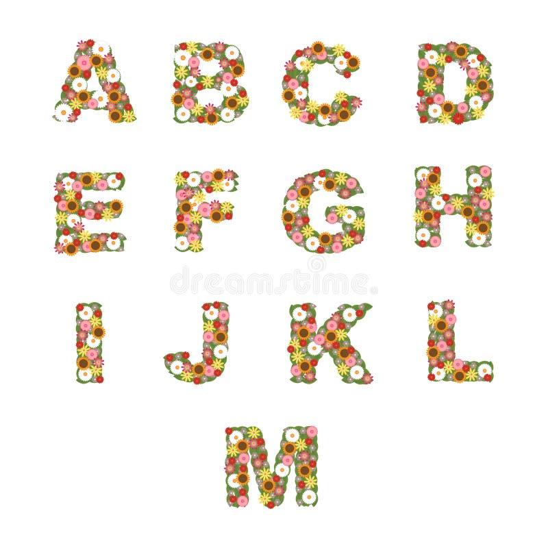 Floral Alphabet [A - M] Set Royalty Free Stock Photography