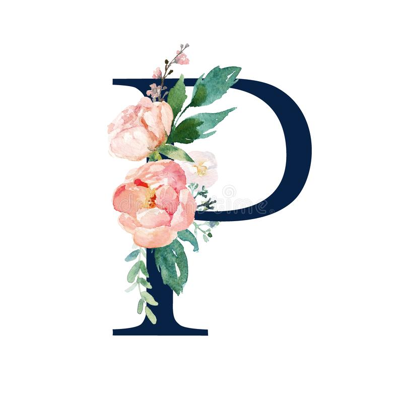 Floral Alphabet - navy color letter P with flowers bouquet composition. Unique collection for wedding invites decoration and many other concept ideas royalty free illustration