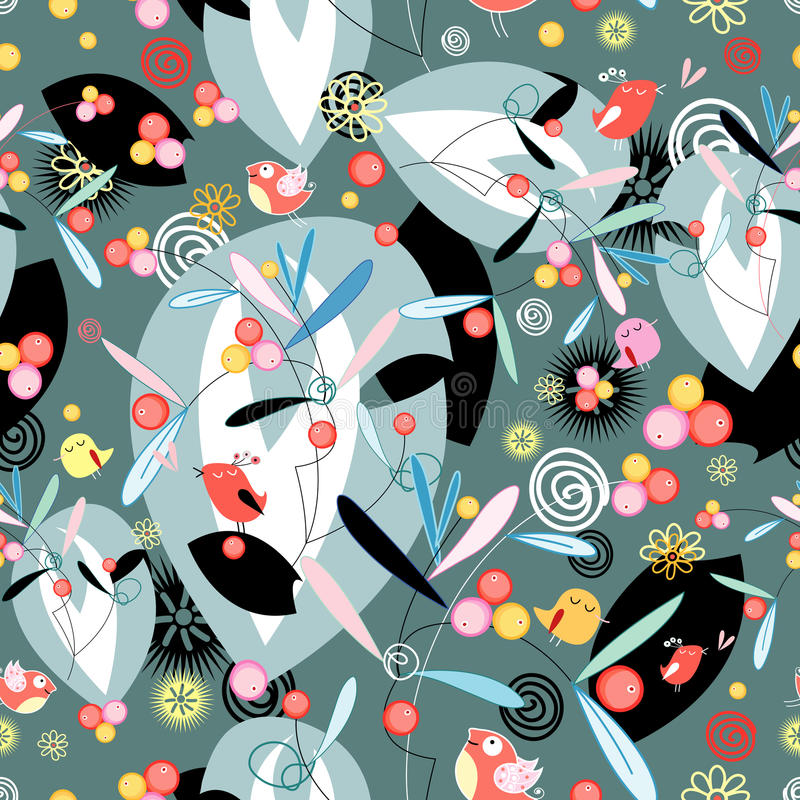 Free Floral And Abstract Pattern With Birds Stock Image - 22008691