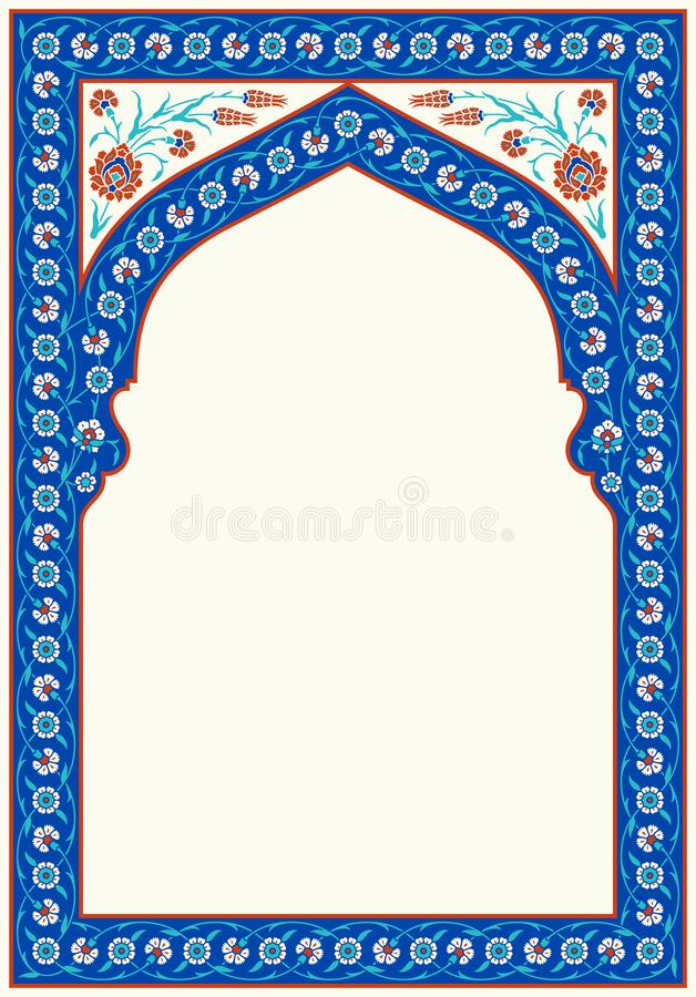 Floral arch for your design. Traditional Turkish � Ottoman ornament. Iznik. Vector background royalty free illustration