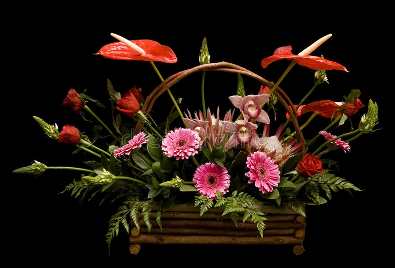 Floral arrangement assorted flowers stock photo