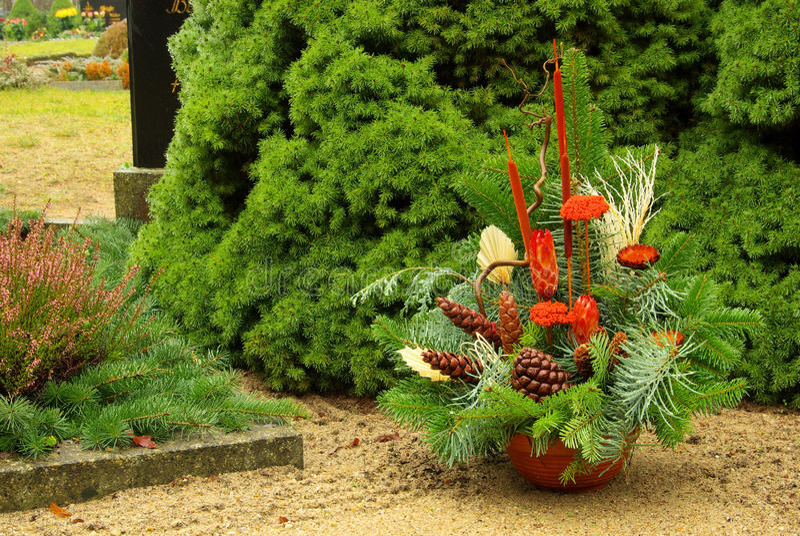 Floral arrangement cemetery stock photos
