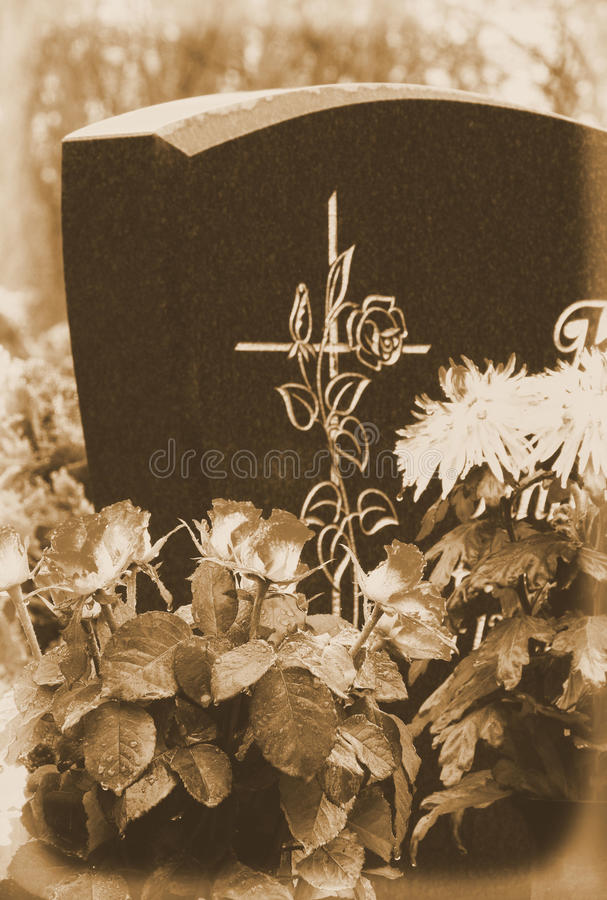 Floral arrangement cemetery royalty free stock photo