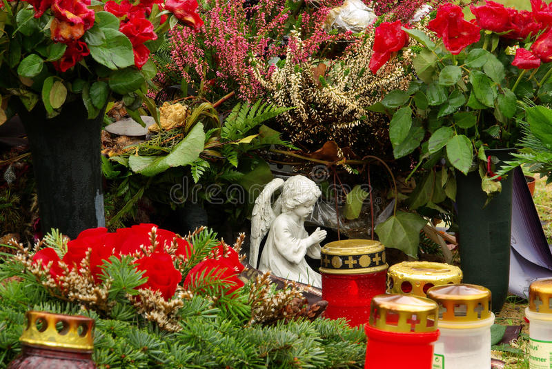 Floral arrangement cemetery royalty free stock photography