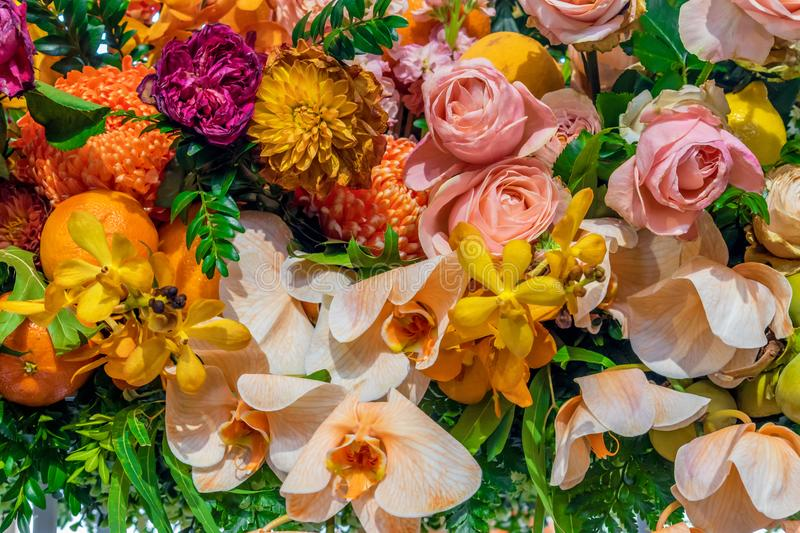 Floral arrangement with oranges. Roses and orchids stock photography
