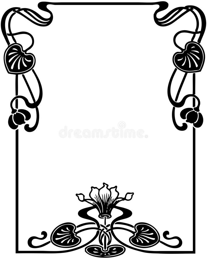 Floral Art Nouveau Frame stock illustration