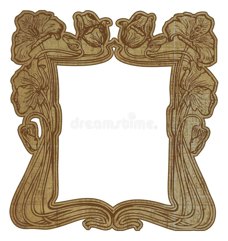 Floral Art Nouveau style border frame stock illustration