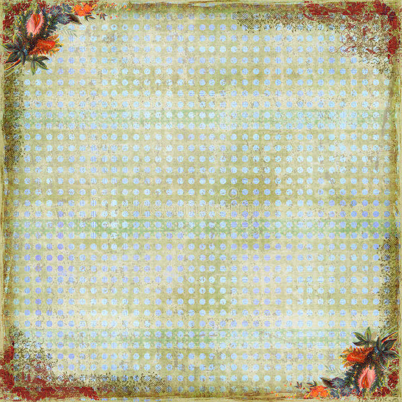 Floral Art Scrapbook Background. A floral art scrapbook background with filagree decorations royalty free stock photo