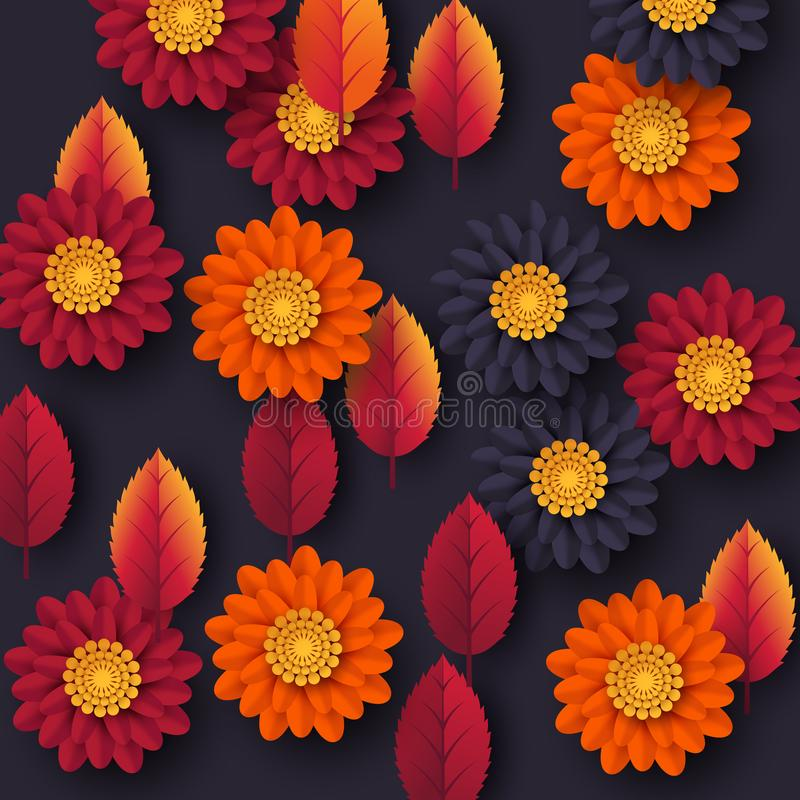 Floral autumn background with 3d paper cut style flowers and leaves. Yellow, orange, purple colors, vector illustration. vector illustration