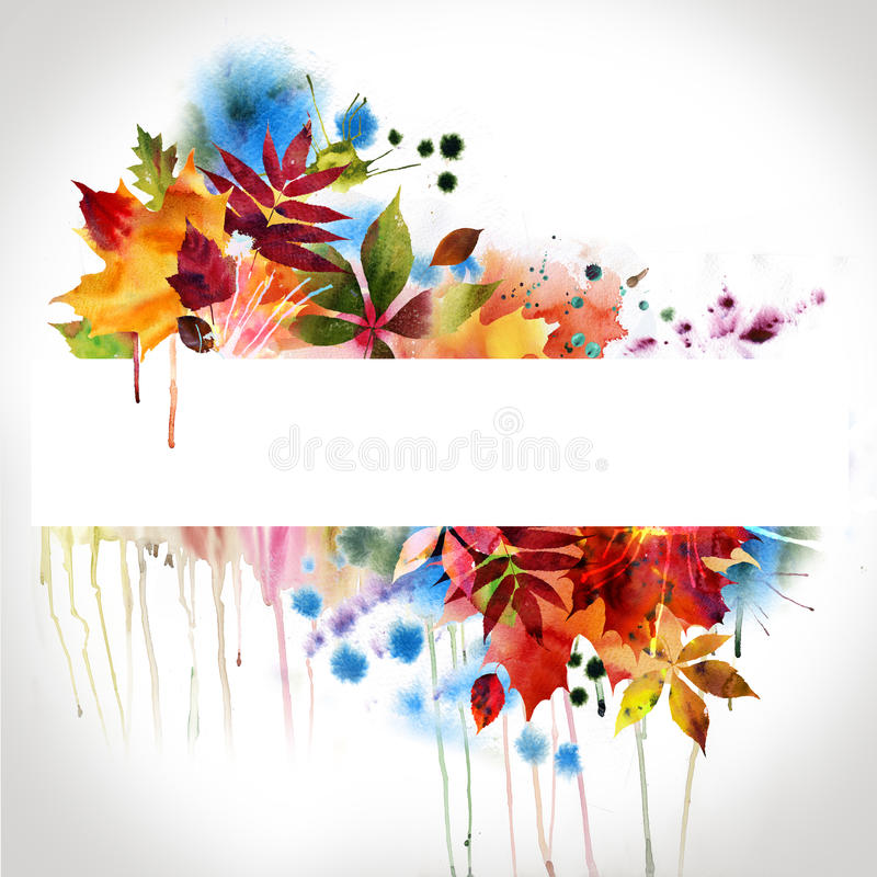Floral autumn design, watercolor painting royalty free illustration