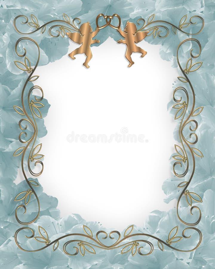 Floral azul do convite do casamento ou do partido ilustração royalty free