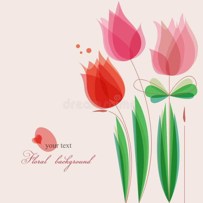 Floral background. Cute purple tulips romantic background vector illustration