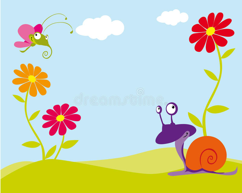 Floral background. With butterfly and snail vector illustration