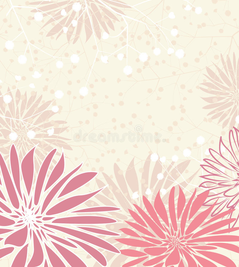Floral background. Greeting card floral with place for text stock illustration