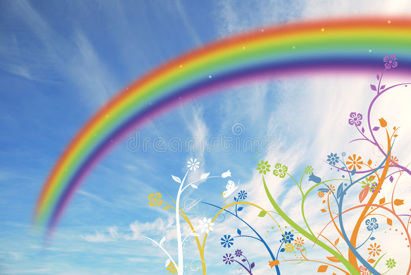 Floral background. Abstract floral background with rainbow colors vector illustration