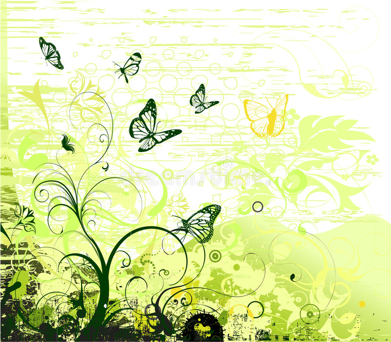 Floral background. Grunge floral background with butterflies stock illustration