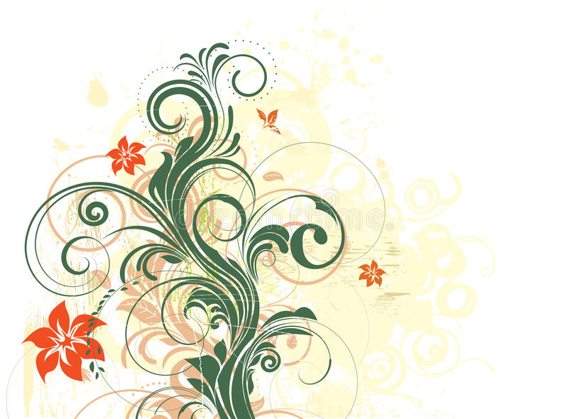 Floral background. Grungy vector floral background with curly branches and halftone background royalty free illustration