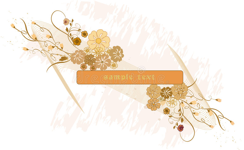 Floral background with banner stock illustration