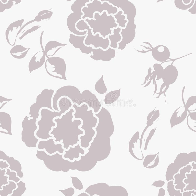 Floral background with beautiful roses pastel color, monochrome seamless pattern vector illustration